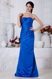 Simple Brush Train Formal Quinceanera Dama Dress in Royal Blue