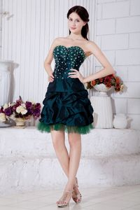 Green Mini Cocktail Dresses for Dama with Beads and Pick-ups