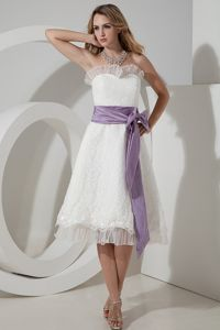 White Tea-length Lace Dama Dress with Lavender Sash about 150