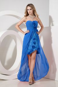 High-low Blue Quince Dama Dress with Flowers and Embroidery