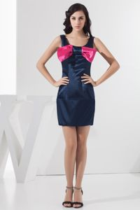 Sheath Scoop Neck Navy Blue Mini Dresses for Damas with Bow