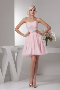 Baby Pink Short Quinceanera Damas Dress with Beads on Waist