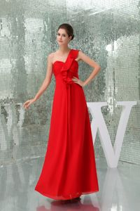 2013 low Price One Shoulder Red Dama Dress for Quinceanera