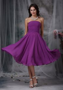 New Chiffon Strapless Tea-length Quince Dama Dresses in Purple